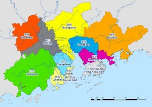 Pearl River Delta, centered by Shenzhen and Guangzhou