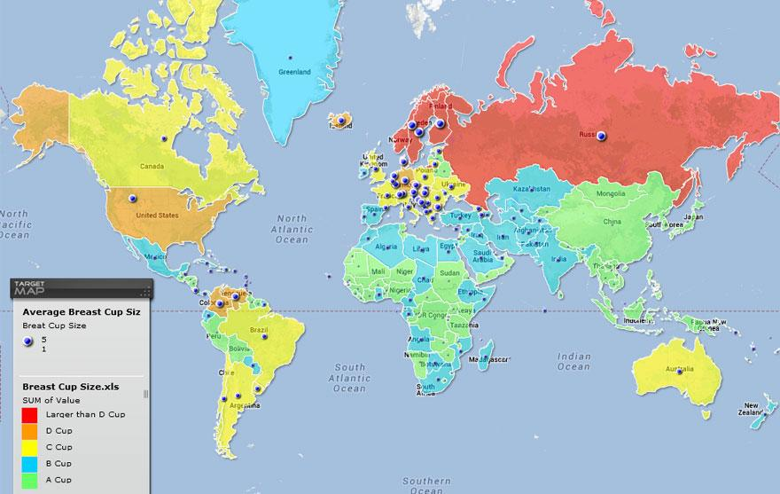 Map of Average Female Bra Sizes by Country