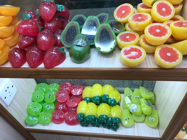 Soaps in Fruit Shapes in Eva International Cosmetic Market in China