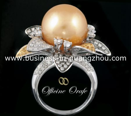 Yellow sapphires, diamonds and South Sea golden pearl custom made ring