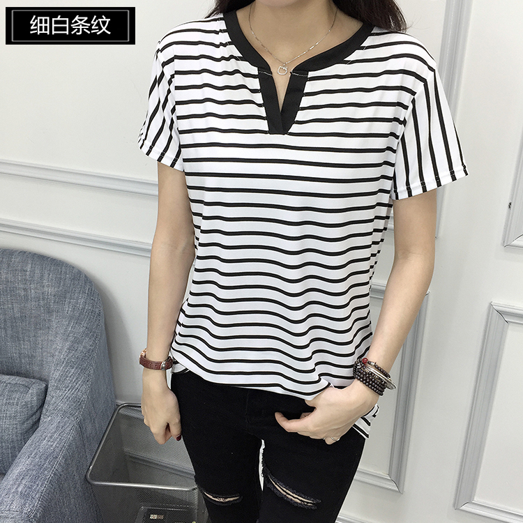 02 Women's Two Tone V-neck Tee Shirts with Stripes