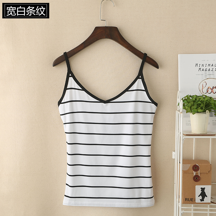 05 Women's Black and White Tank Tops with Stripes