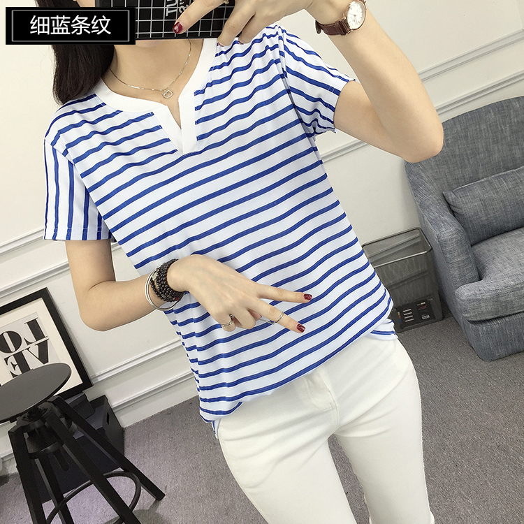05 Women's Wholesale Two Tone V-neck Shirts with Pinstripes