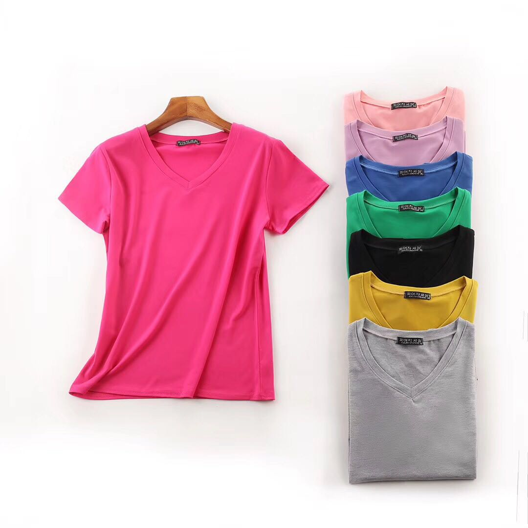 Ladies V-Neck Blank T-shirts for Printing