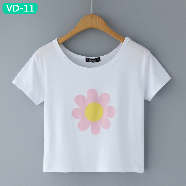 VD-11 Trendy Cropped Tops with Graphic Designs for Girls