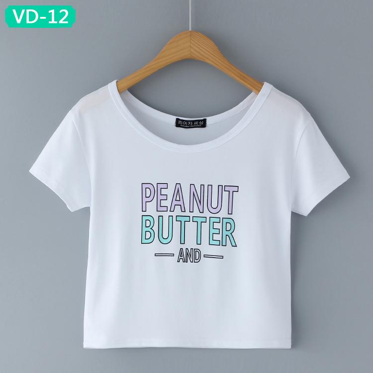 VD-12 Wholesale Graphic Design Crop Tops for Ladies
