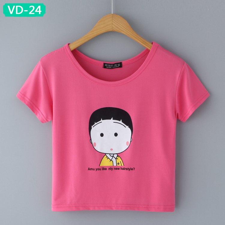 VD-24 Girls' Crop Tops with Cute Graphic Design at Discount Rate