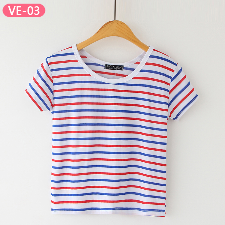 VE-03 Wholesale Stripe Crop Tops from China T-shirts Manufacturer