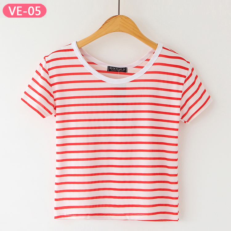 VE-05 Affordable Crop Top Shirts with Stripe for Girls