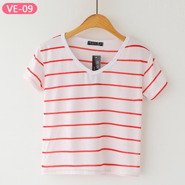 VE-09 Ladies Wholesale Short Sleeve Crop Tops
