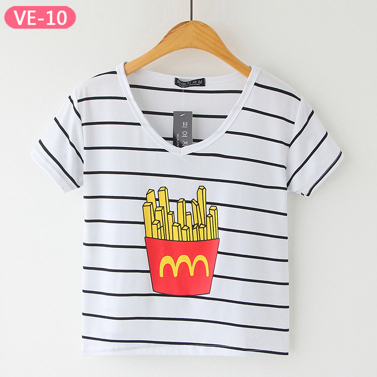 VE-10 Wholesale Stripe Crop Tops with Prints for Women