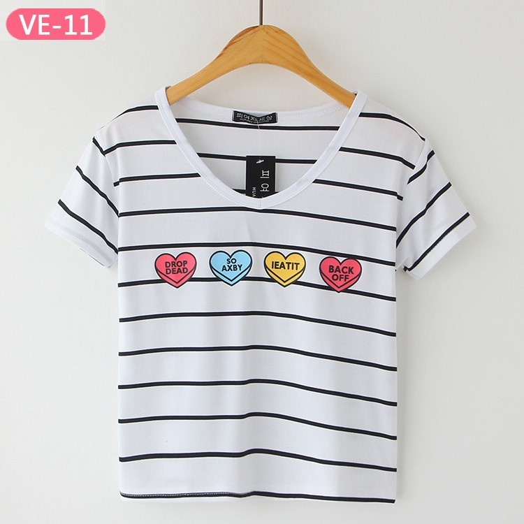 VE-11 Wholesale Fashion Crop Tops with Prints for Girls