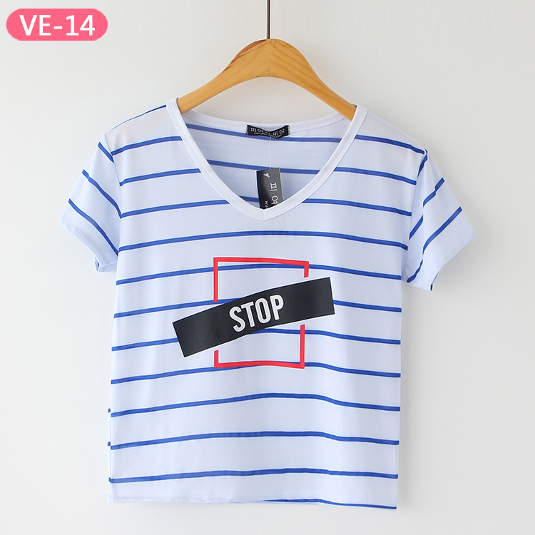 VE-14 Cute Crop Tops with Slogan at Wholesale Prices