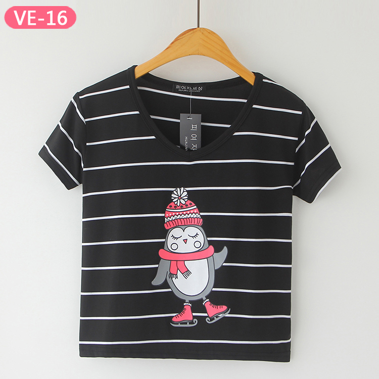 VE-16 Stylish Cropped T-shirts for Girls from China T-shirts Factory