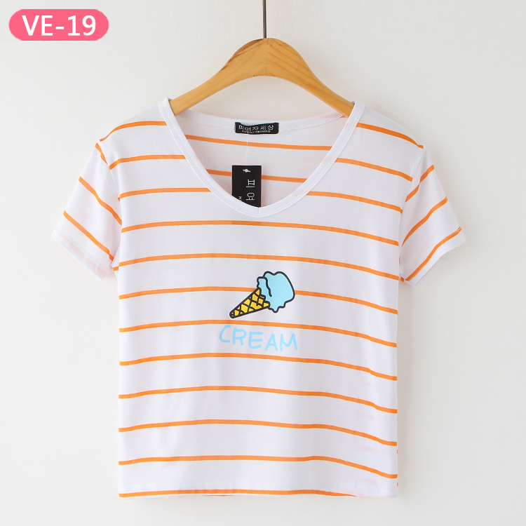 VE-19 Printed Stripe Crop Tops from China Shirts Manufacturer