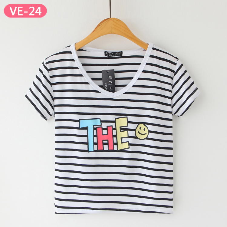 VE-24 China Wholesale Crop Tops with Print for Ladies
