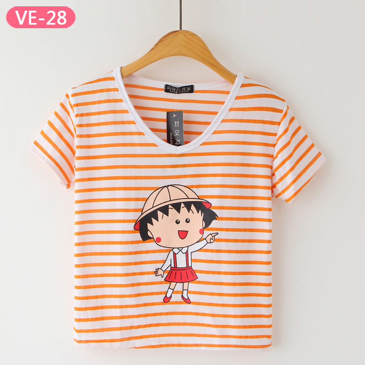VE-28 Cotton Stripe Cropped Tops with Graphic Design