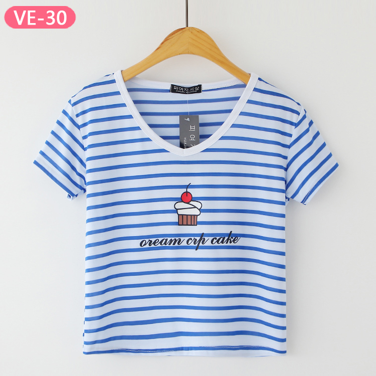 VE-30 Ladies Wholesale Crop Tops with Print from China T-shirts Manufacturer