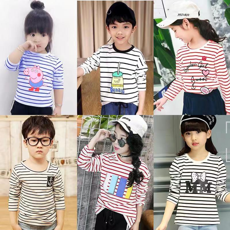 Long Sleeve Graphic T-shirts in Stripe Pattern