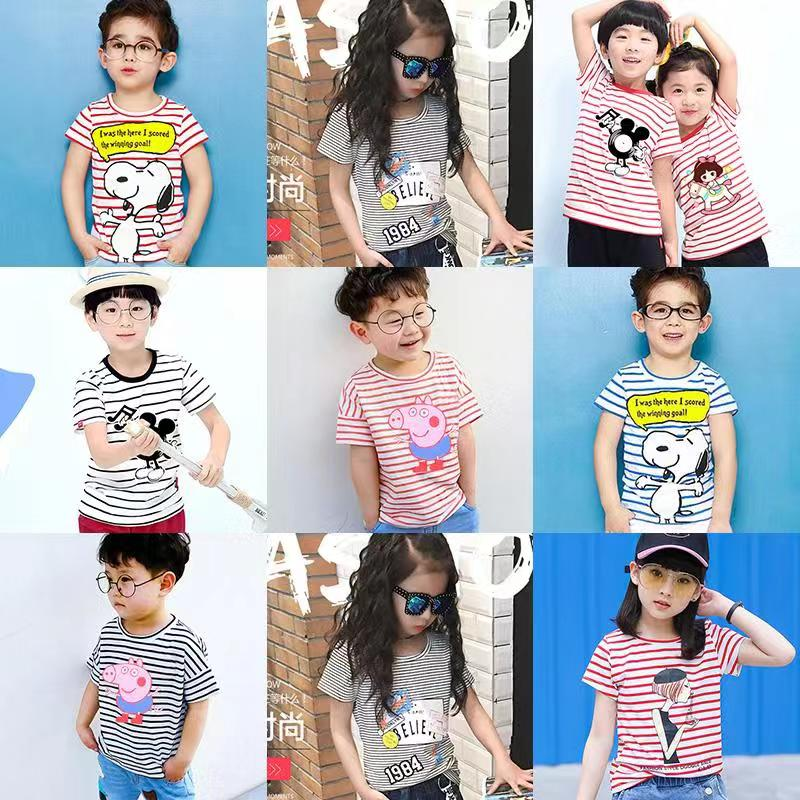 Wholesale Short Sleeve T-shirts in Stripe Pattern for Kids